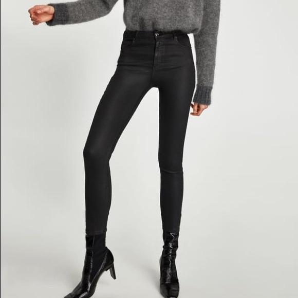 4b750082 Zara Black High Waisted Waxed Coated Skinny Jeans NWT